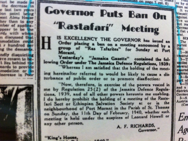 meeting-ban of The rastafari Movement and Leonard Percival
